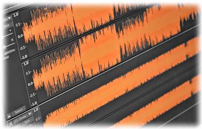 audio waveform orange